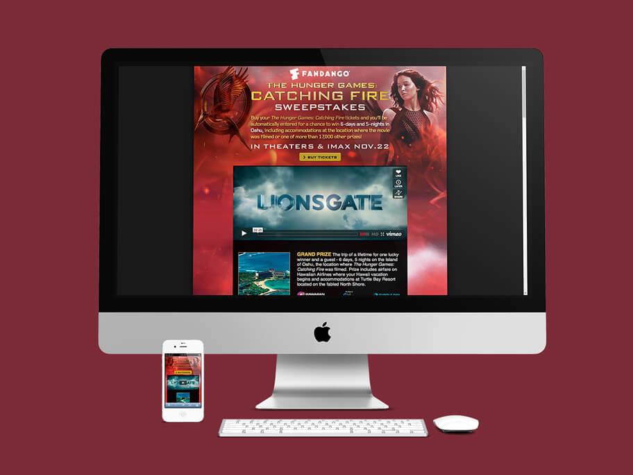 Fandango Tickets The Hunger Games, diseño de página web responsive en HTML5