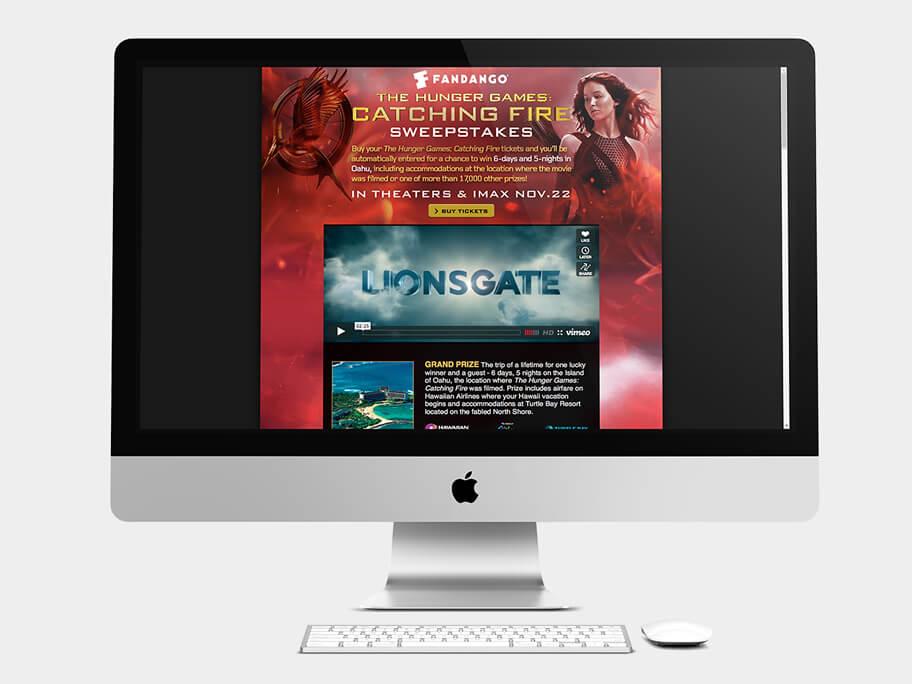 Fandango Tickets The Hunger Games, página de inicio formulario, en computadores