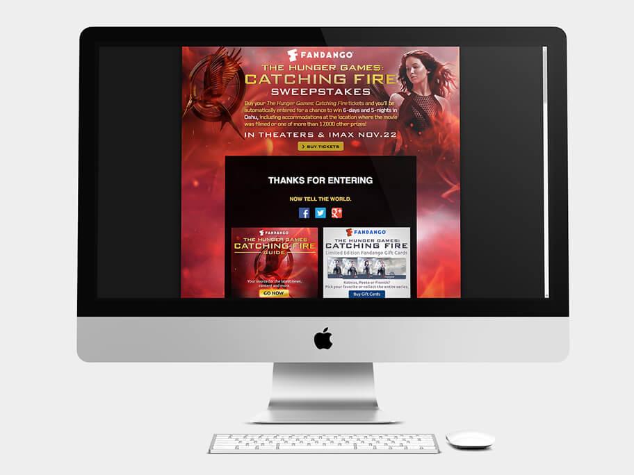 Fandango Tickets The Hunger Games, página de gracias, en computadores