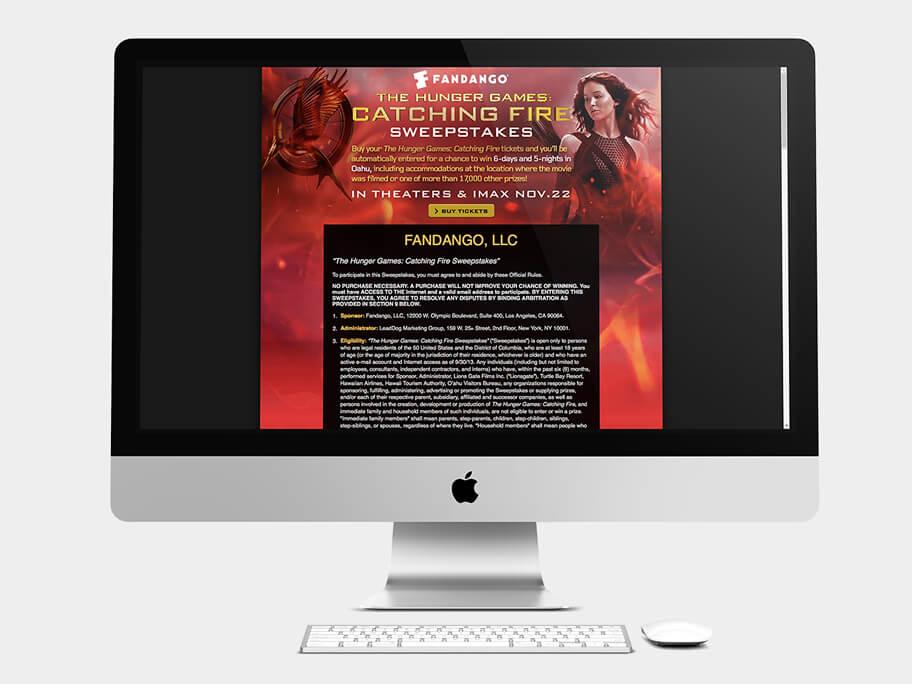 Fandango Tickets The Hunger Games, página de legales, en computadores