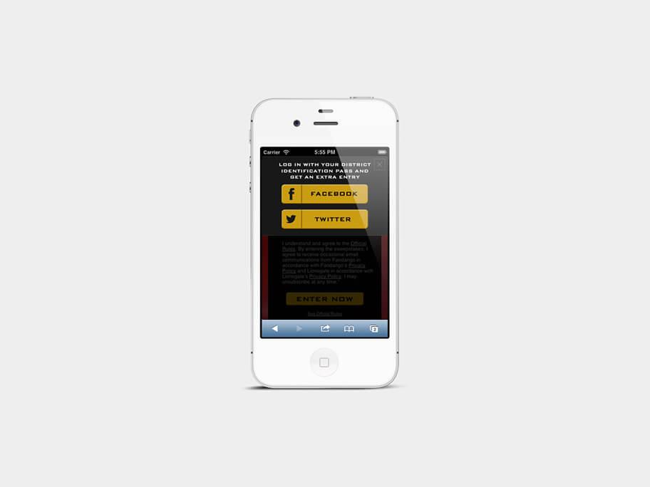 Fandango Tickets The Hunger Games, popup compartir, en smartphones