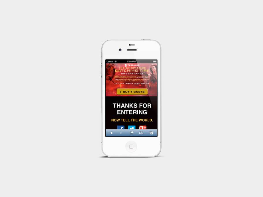 Fandango Tickets The Hunger Games, página de gracias, en smartphones