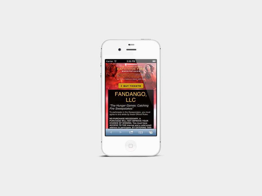 Fandango Tickets The Hunger Games, página de legales, en smartphones