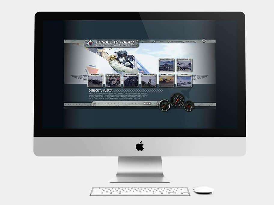 Fuerza Aérea Colombiana, página de inicio, en computadores