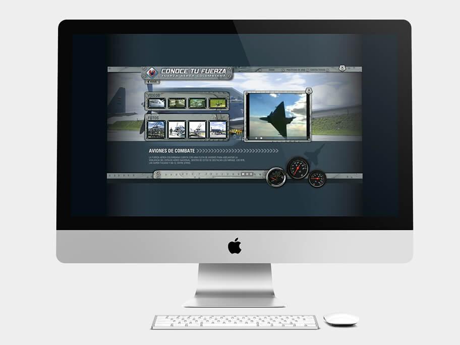 Fuerza Aérea Colombiana, página de aviones de combate, en computadores