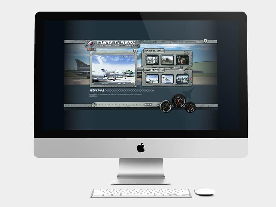 Fuerza Aérea Colombiana, página de descargas, en computadores