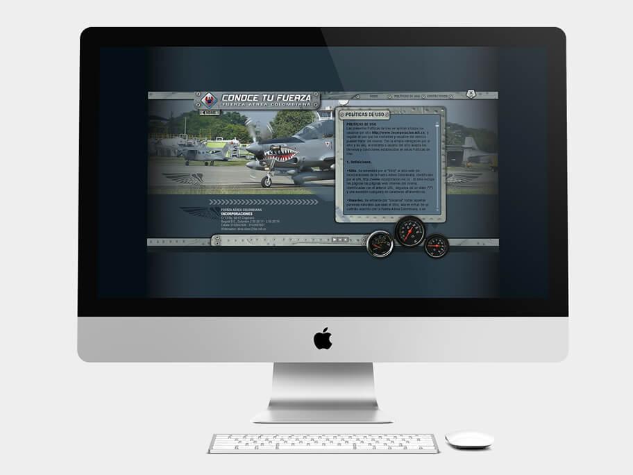 Fuerza Aérea Colombiana, página de políticas de uso, en computadores