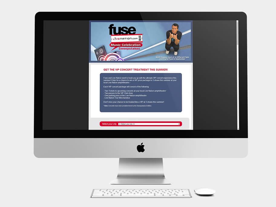 Fuse Live Nation, página de Inicio, computador