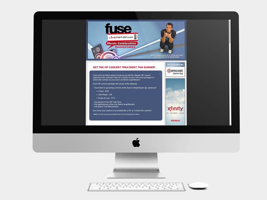 Fuse Live Nation, página de ciudad seleccionada, en computadores