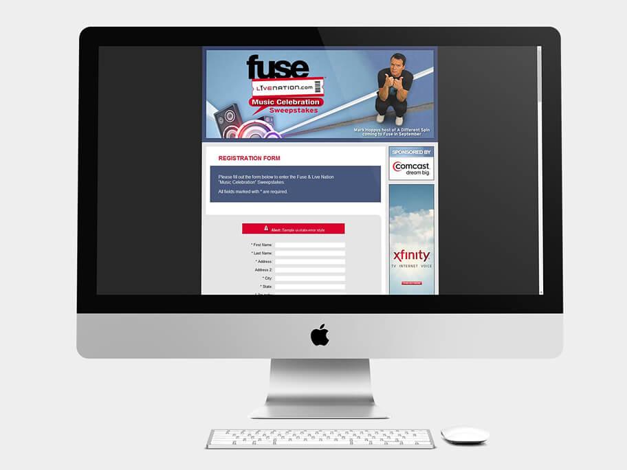 Fuse Live Nation, página de Formulario, computador