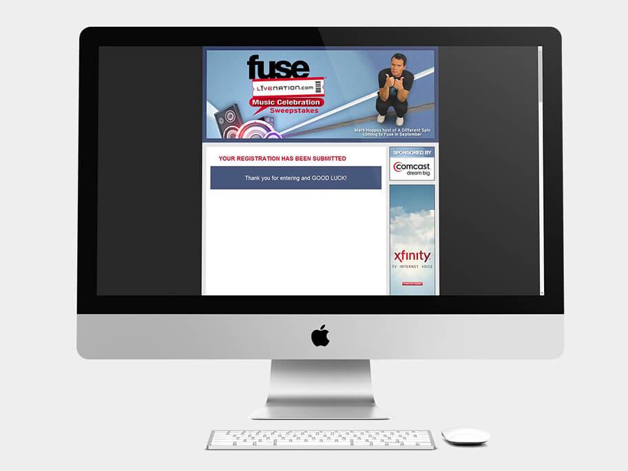 Fuse Live Nation, página de gracias, en computadores