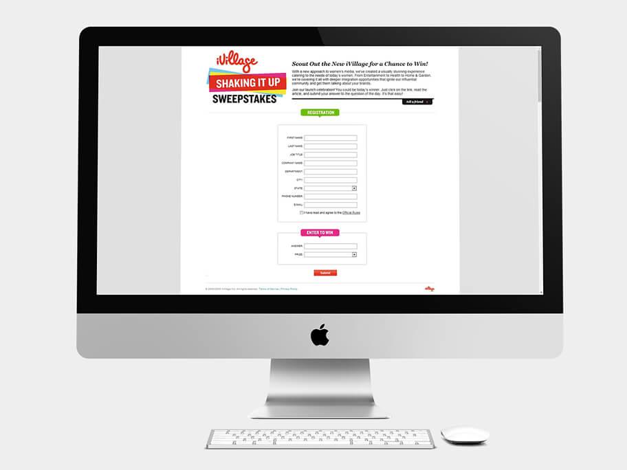 iVillage, página de formulario, en computadores