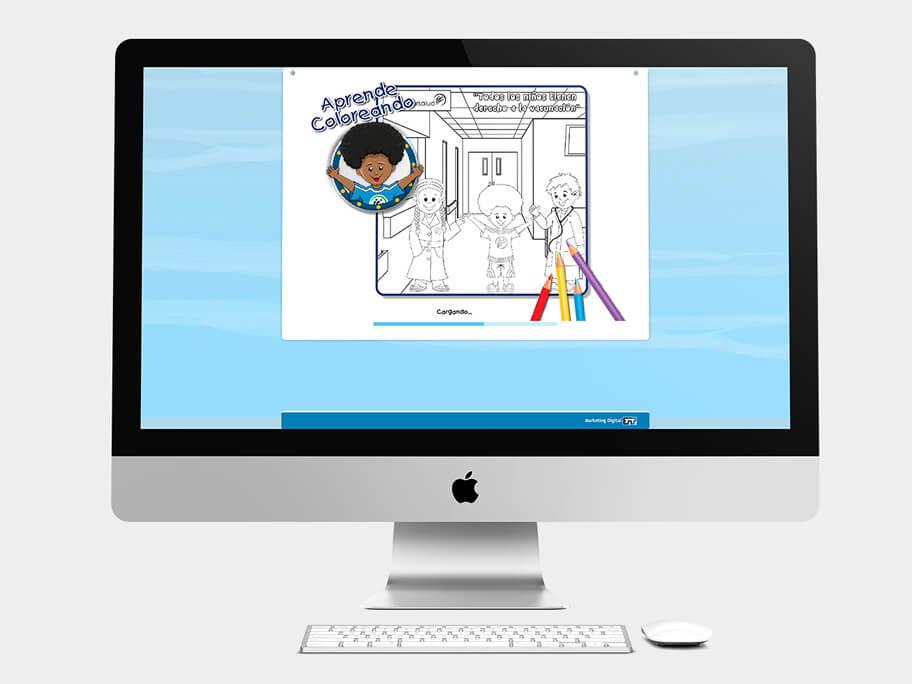Juego Colorear, página de precarga, en computadores