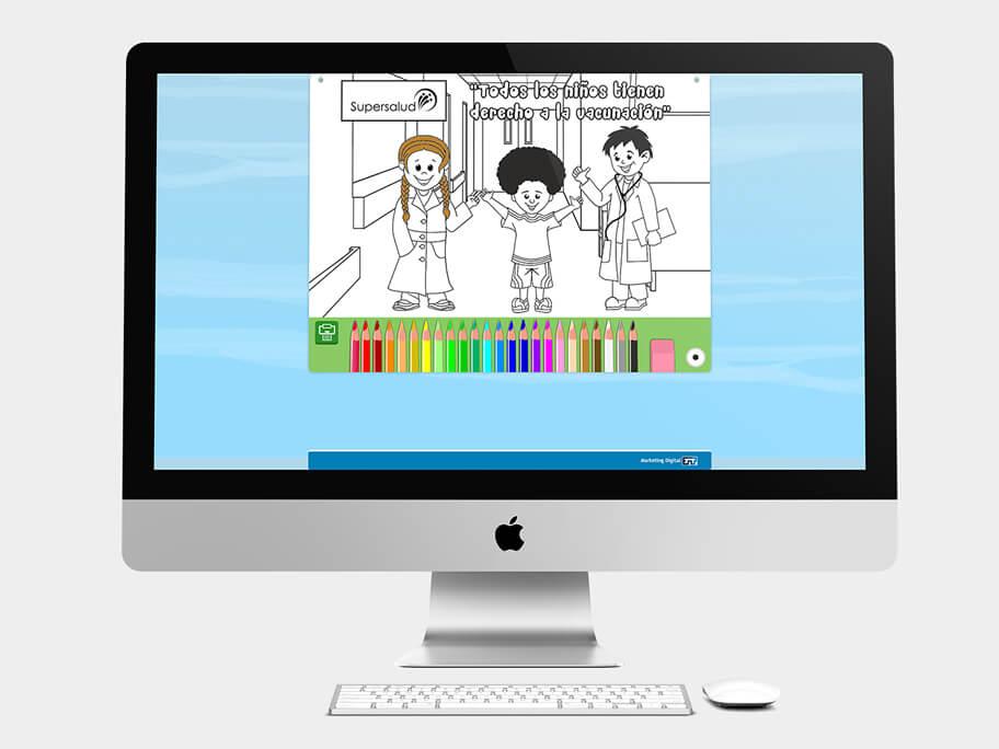 Juego Colorear, página de coloreado, en computadores