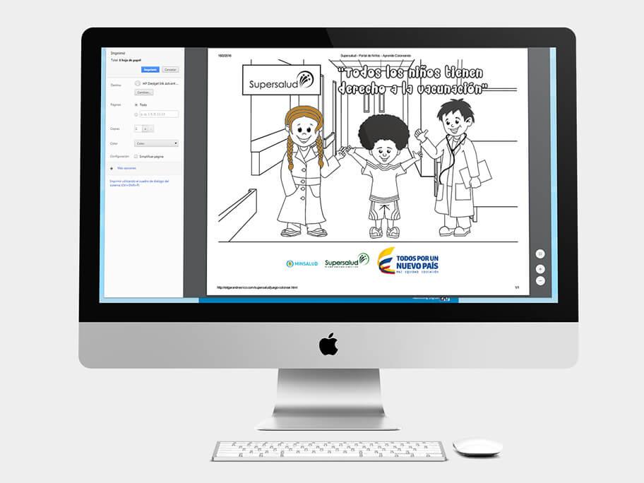 Juego Colorear, página de imprimir, en computadores