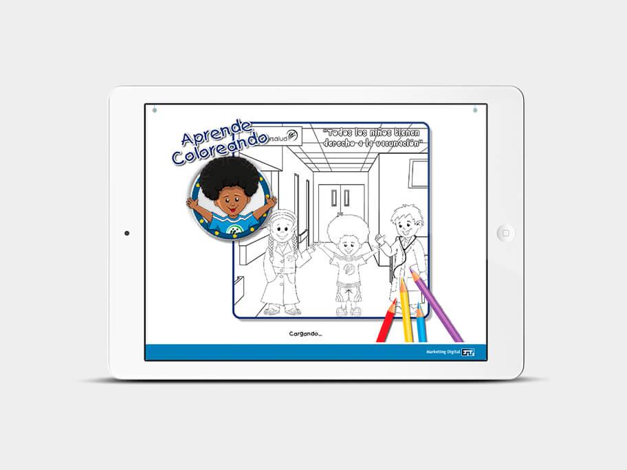 Juego Colorear, página de precarga, en tablets