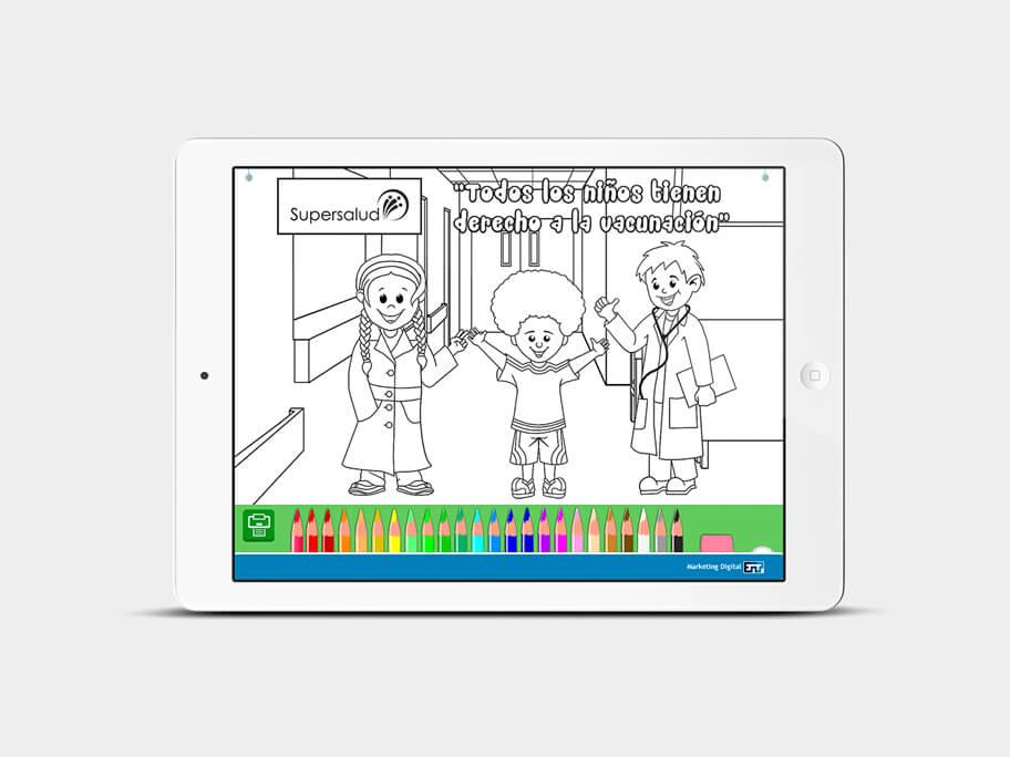 Juego Colorear, página de pintar, en tablets