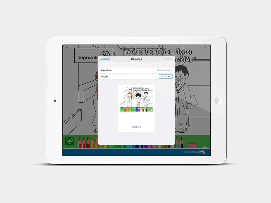 Juego Colorear, página de imprimir, en tablets