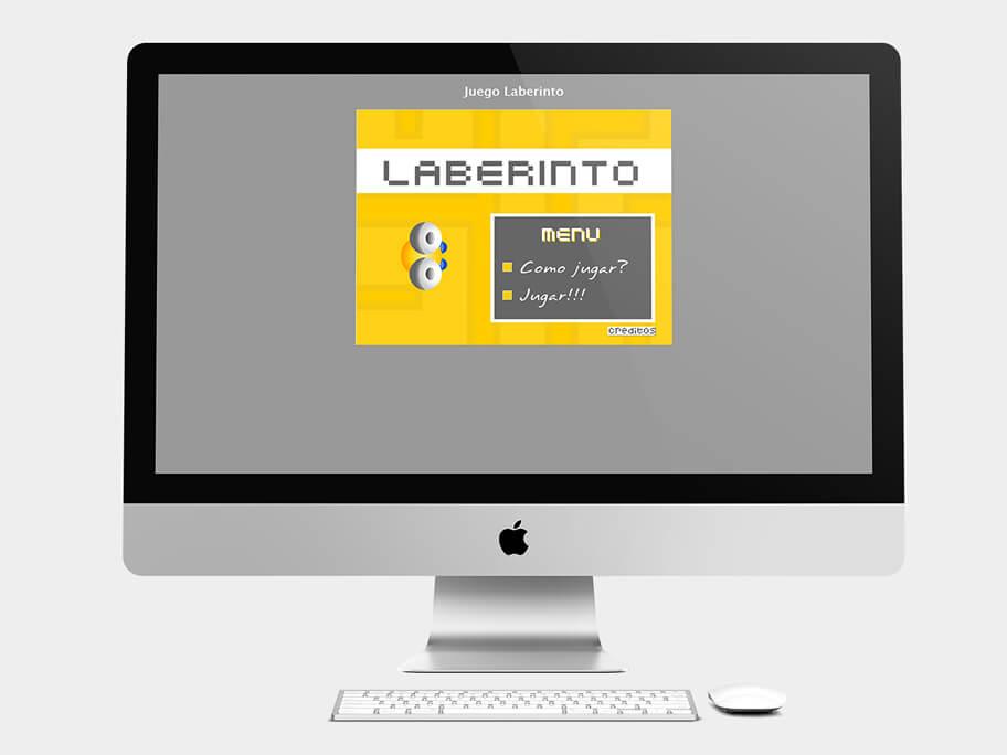 Juego Laberinto, página de inicio, en computadores