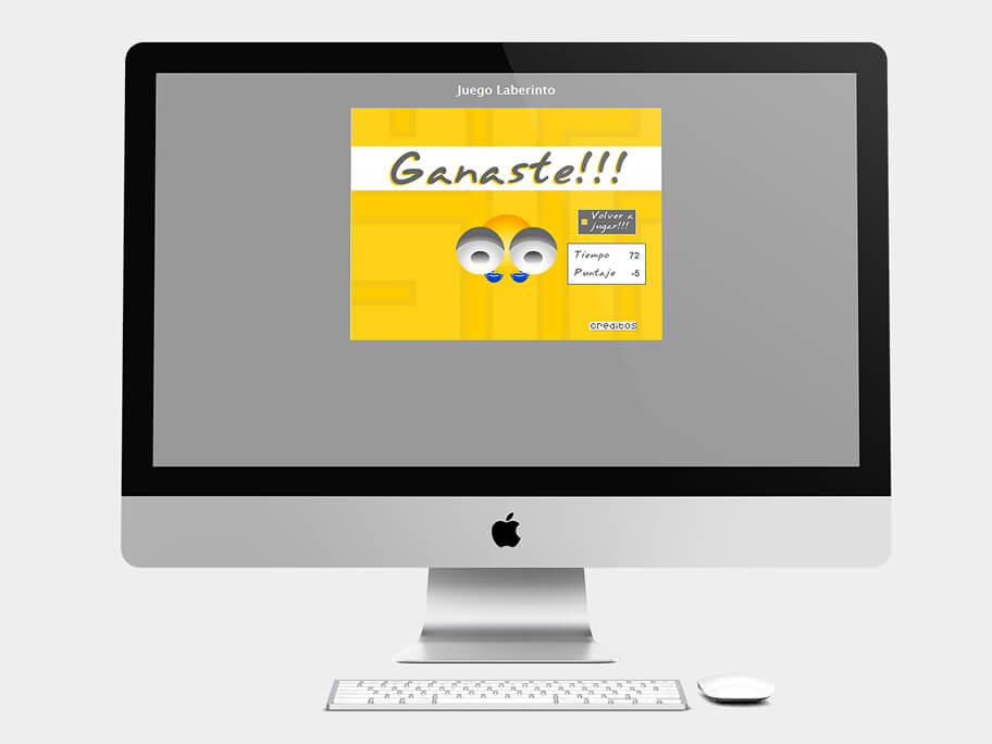 Juego Laberinto, página de Ganaste, computador