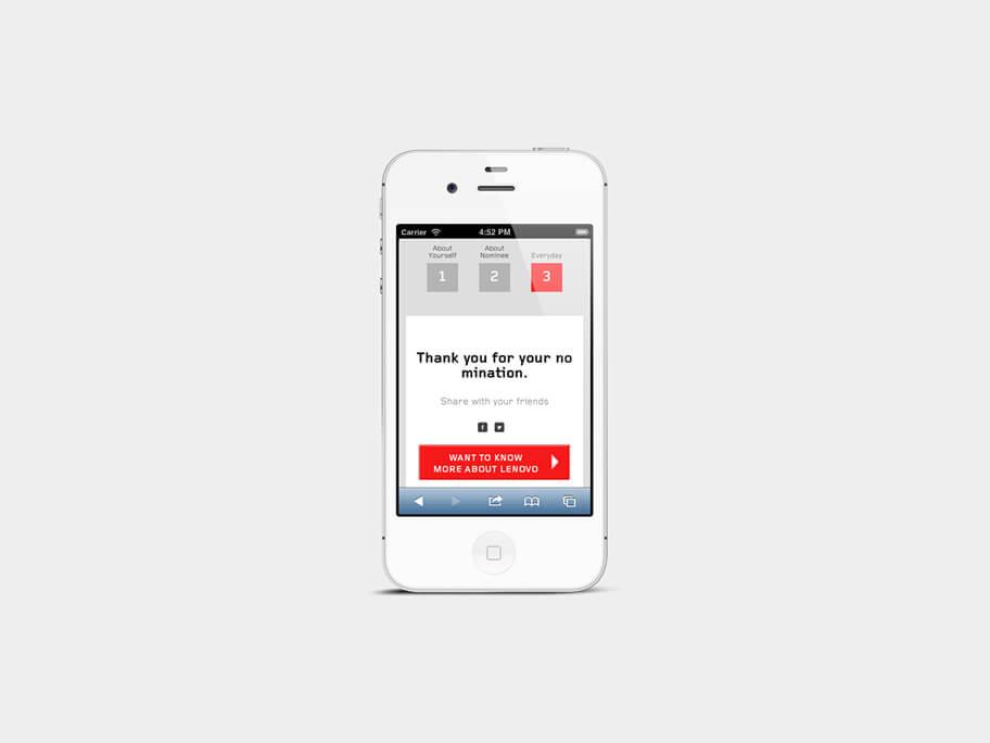 Lenovo Thinkpad, página de Registro Finalizado y Compartir, smartphone