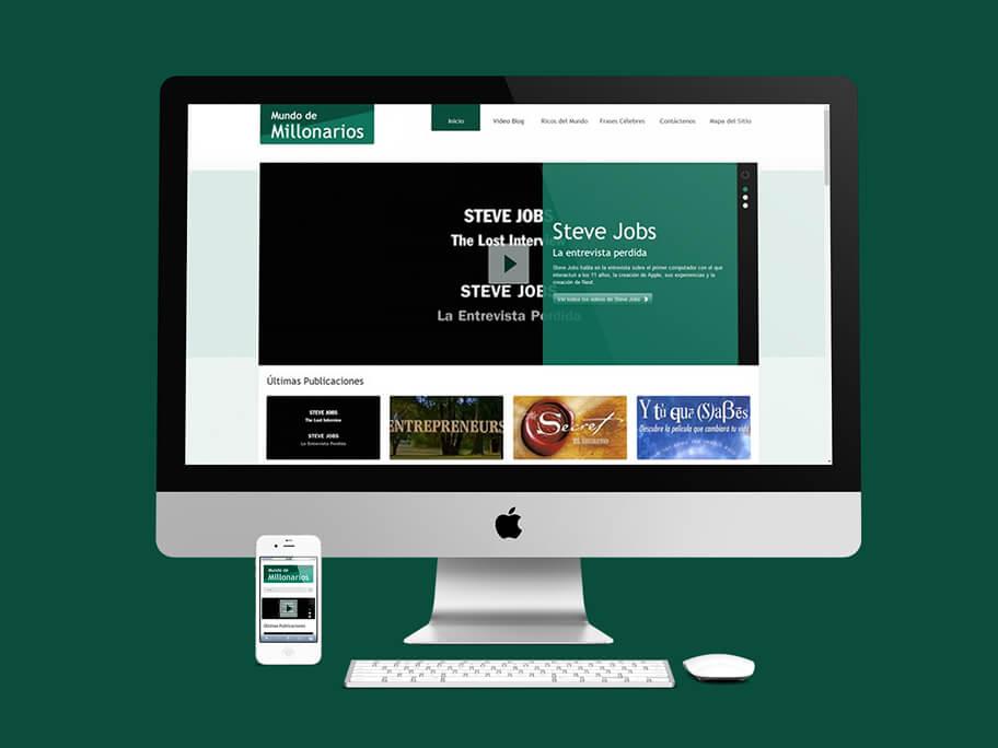 Mundo de Millonarios, diseño de página web responsive en WordPress