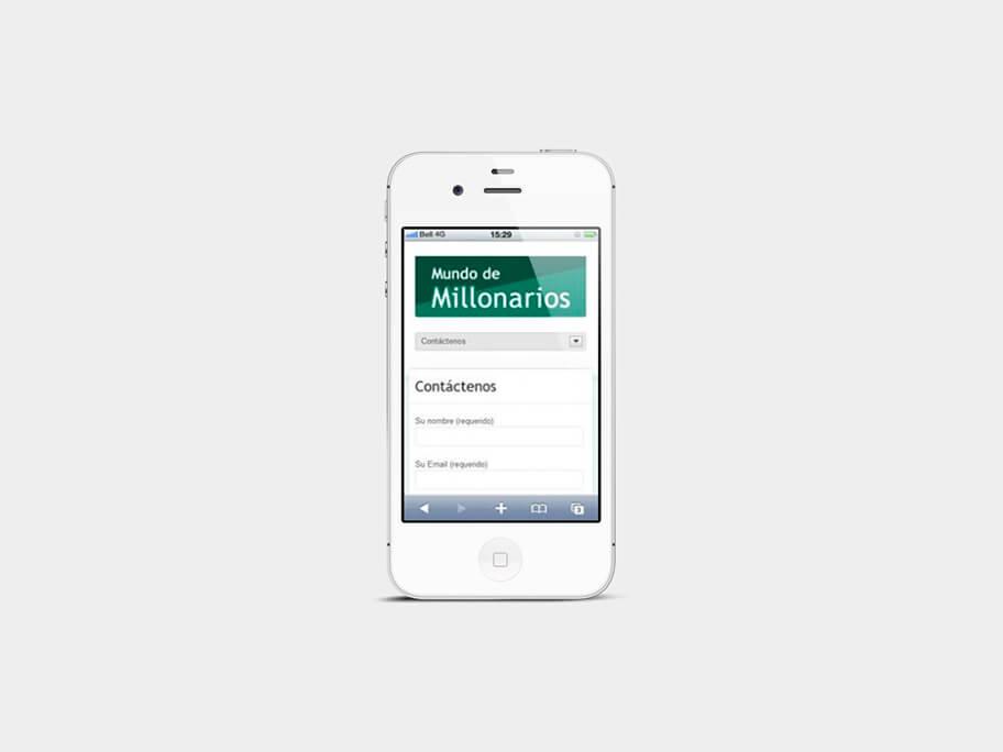 Mundo de Millonarios, página de contáctenos, en smartphones