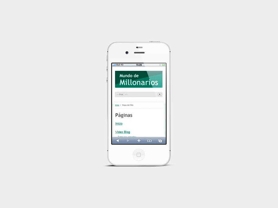 Mundo de Millonarios, página de mapa del sitio, en smartphones