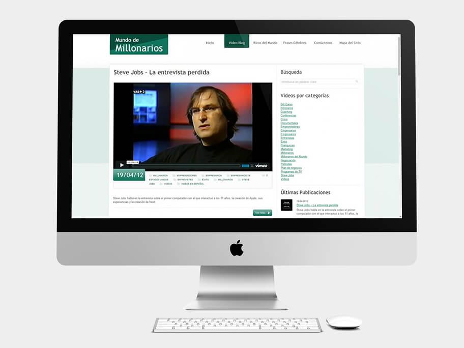 Mundo de Millonarios, página de video blog, en computadores