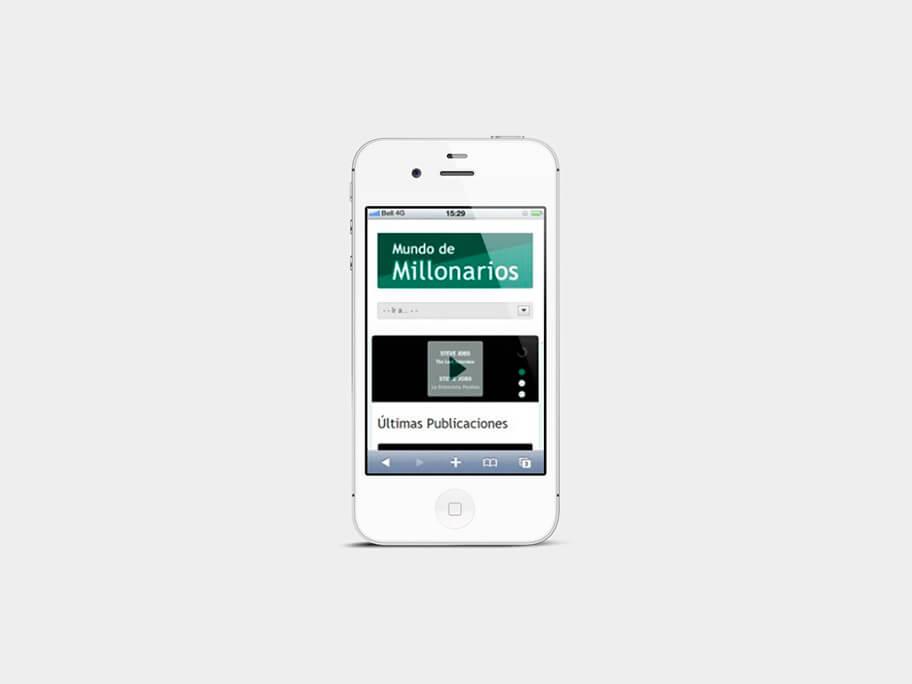 Mundo de Millonarios, página de inicio, en smartphones