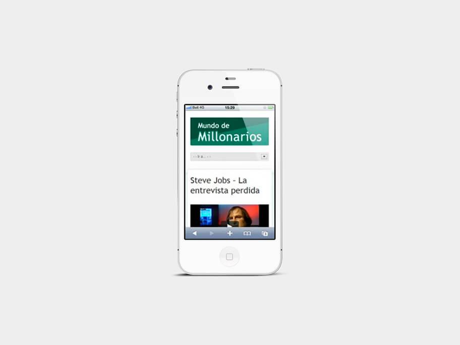 Mundo de Millonarios, página de video blog, en smartphones