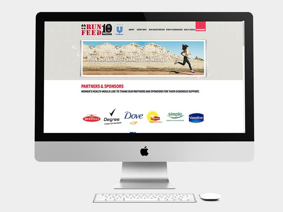 Run 10 Feed 10, página de Socios y Patrocinadores, computador
