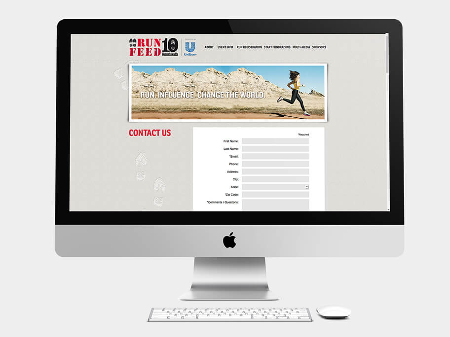 Run 10 Feed 10, página de Contáctenos, computador