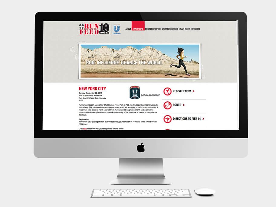 Run 10 Feed 10, página de Información de Eventos, computador