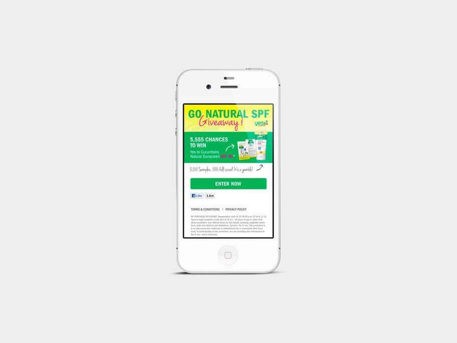Yes To Cucumbers, página de Inicio, smartphone