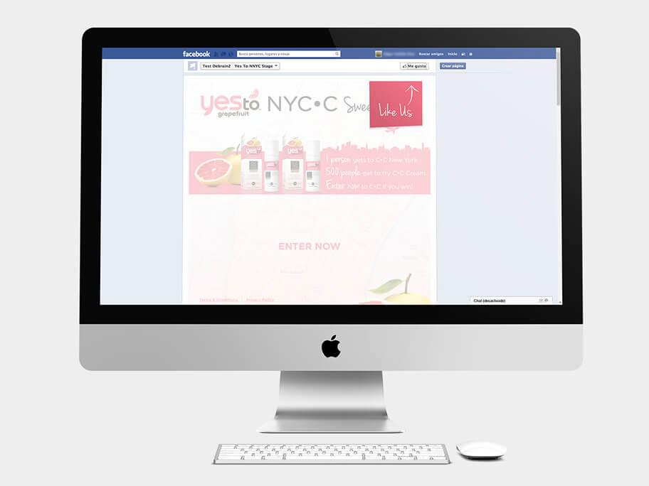 Yes To Grapefruit, página de inicio en facebook, en computadores