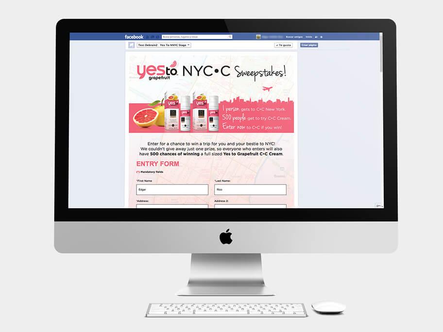 Yes To Grapefruit, página de formulario, en computadores