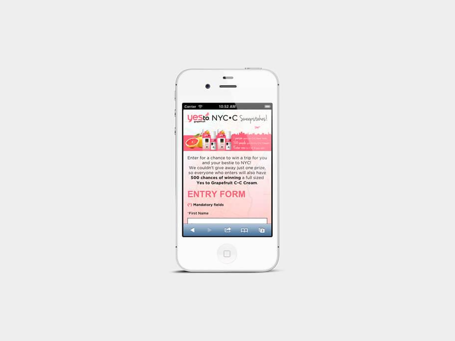 Yes To Grapefruit, página de formulario, en smartphones