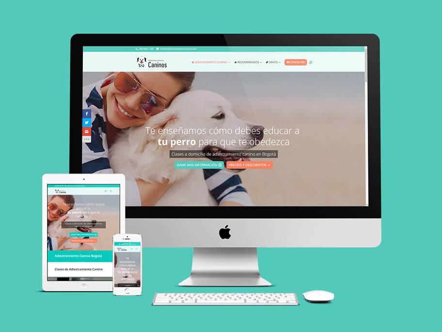 Adiestramiento Caninos, diseño de página web responsive en WordPress