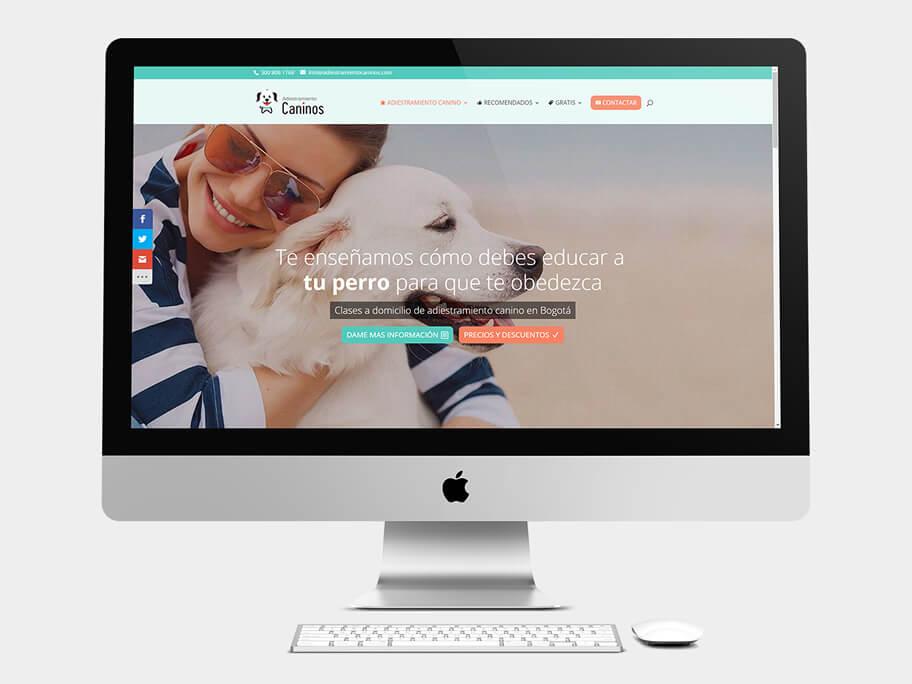Adiestramiento Caninos, página de Inicio, computador