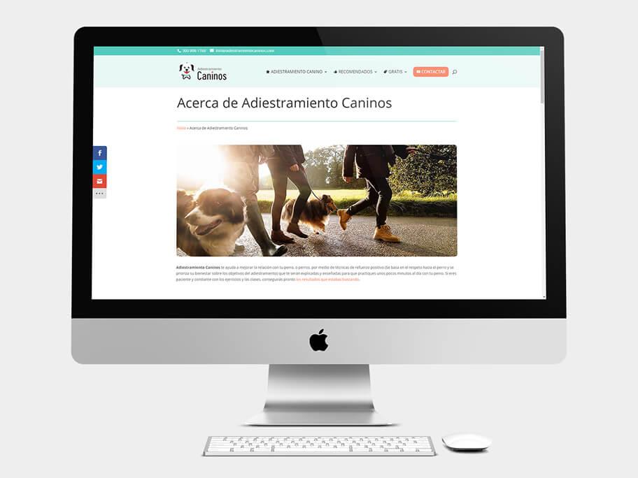Adiestramiento Caninos, página de Acerca de Adiestramiento Caninos, computador