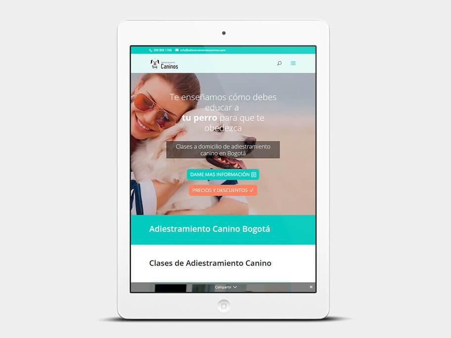 Adiestramiento Caninos, página de Inicio, tablet