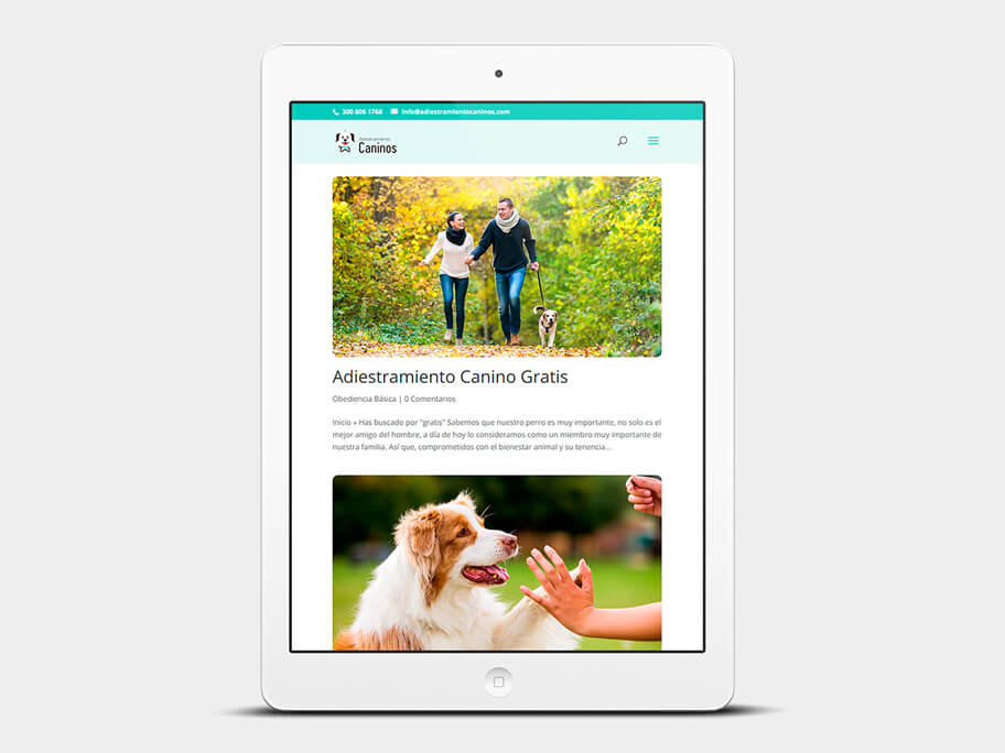 Adiestramiento Caninos, página de Resultados de búsqueda, tablet