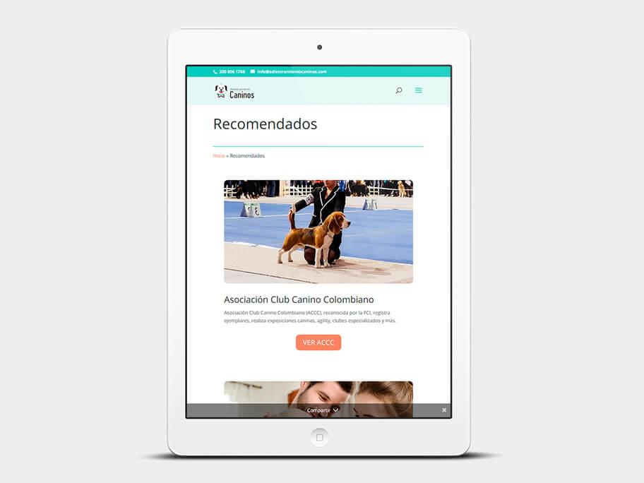 Adiestramiento Caninos, página de Recomendados, tablet