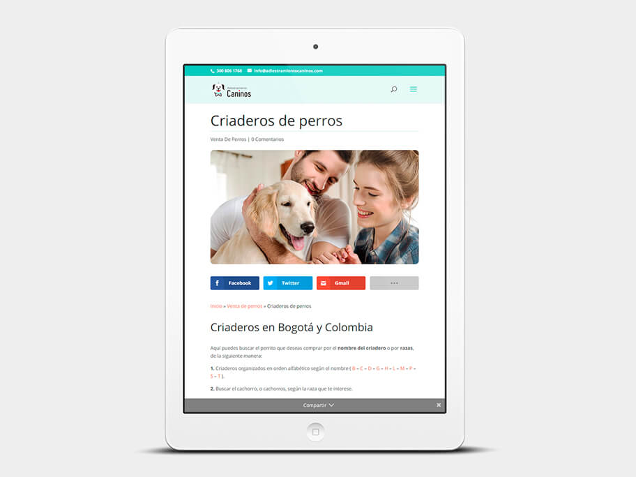 Adiestramiento Caninos, página de Criaderos de perros, tablet