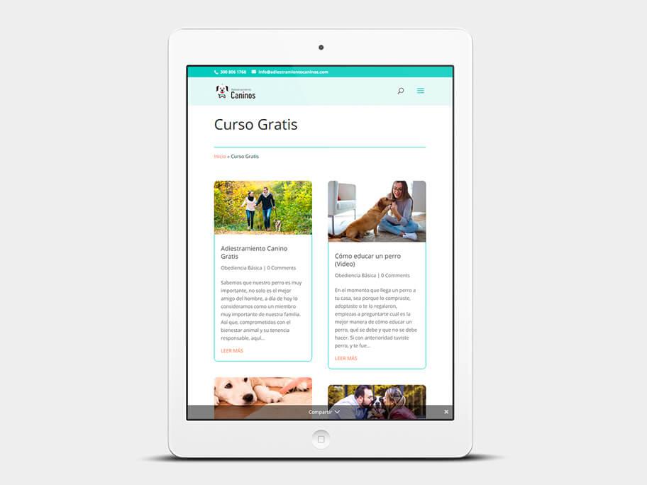 Adiestramiento Caninos, página de Curso Gratis, tablet