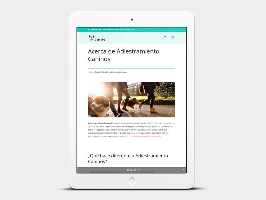 Adiestramiento Caninos, página de Acerca de Adiestramiento Caninos, tablet