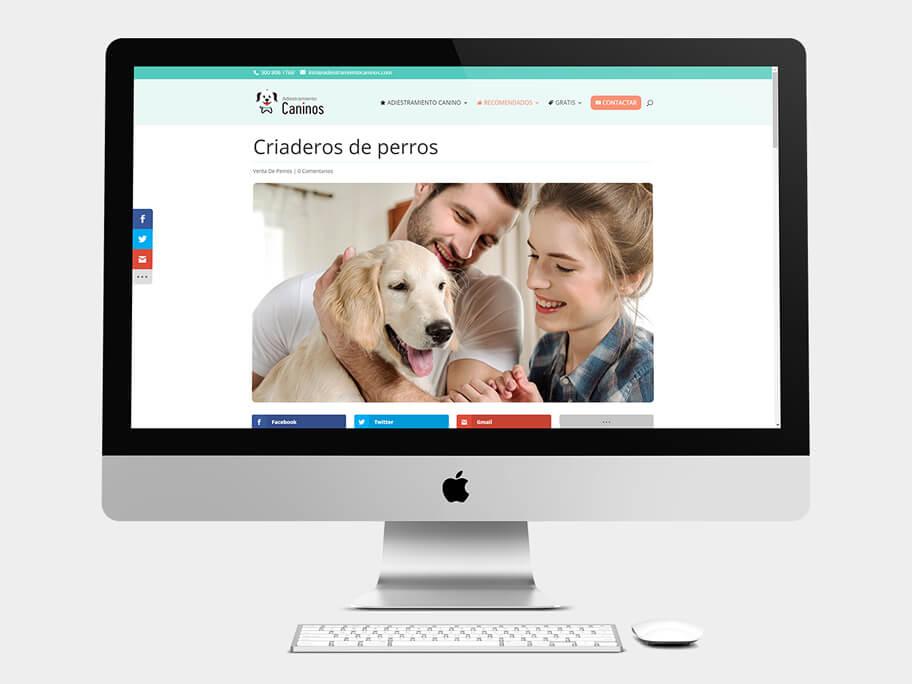 Adiestramiento Caninos, página de Criaderos de perros, computador