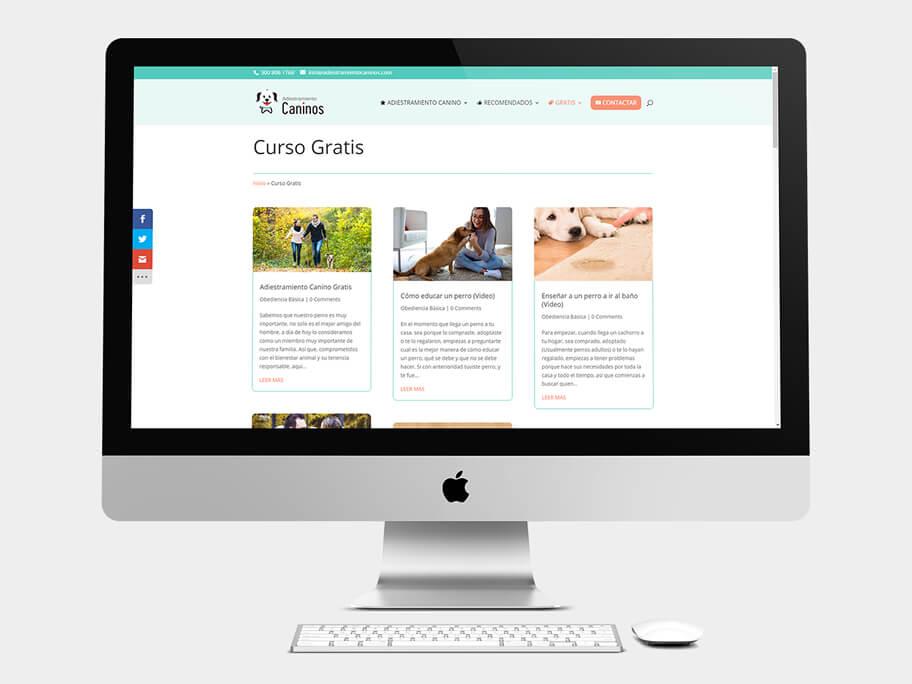 Adiestramiento Caninos, página de Curso Gratis, computador