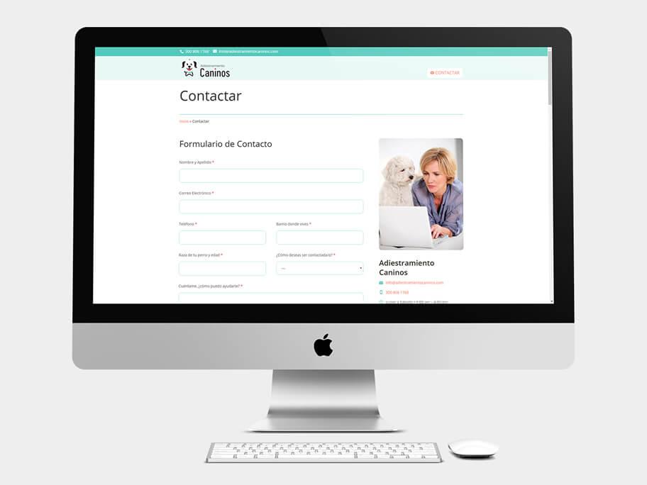 Adiestramiento Caninos, página de Contactar, computador